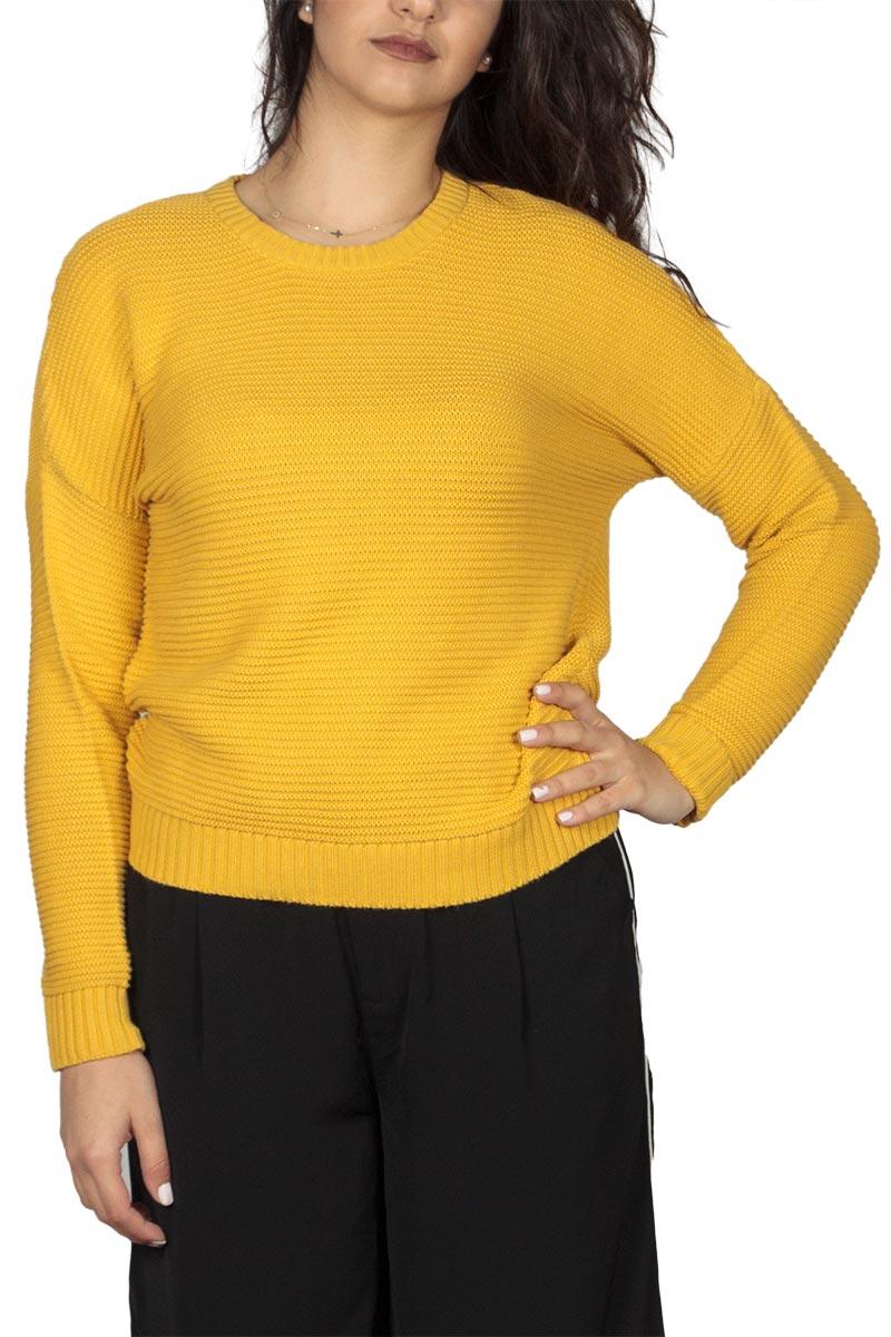 Thinking Mu γυναικεία πλεκτή μπλούζα μουσταρδί