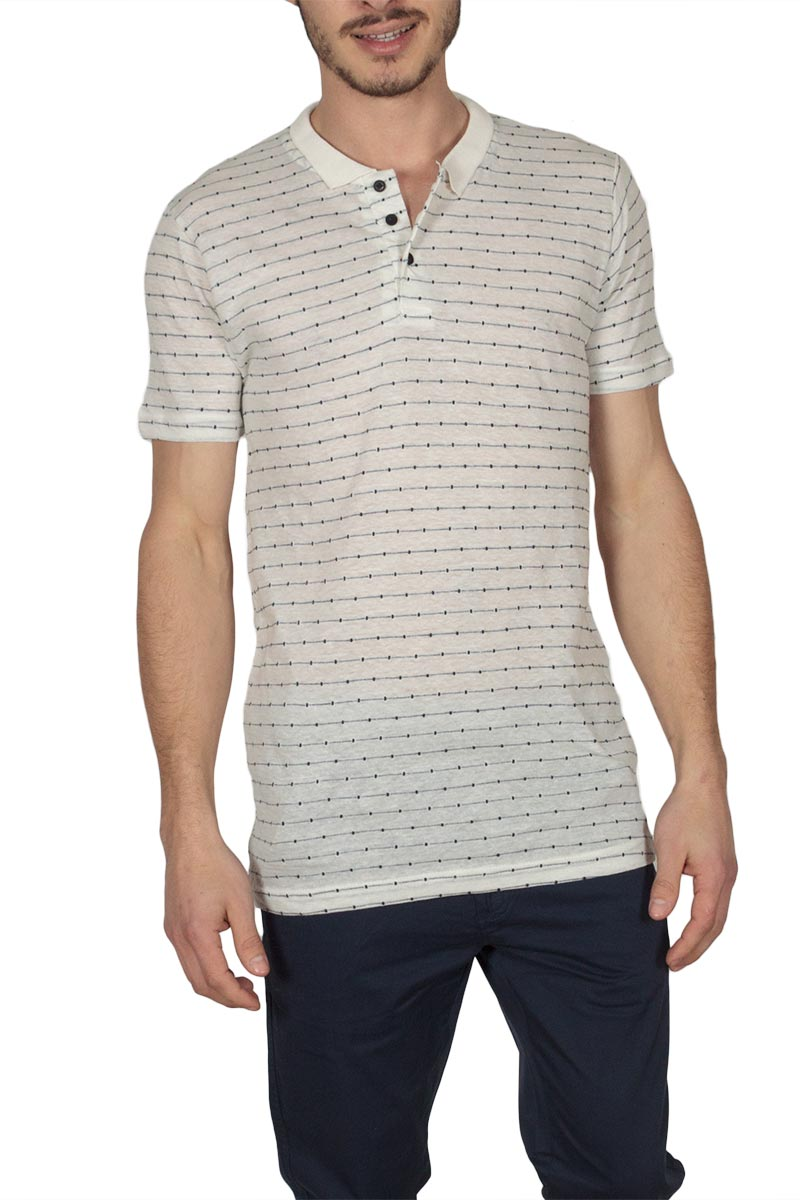 Anerkjendt Magnus polo T-shirt εκρού-μπλε - 9217326