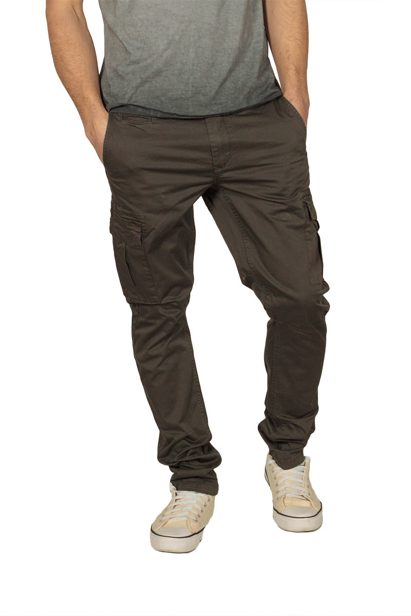 Ryujee slim fit cargo παντελόνι χακί ανδρικα   παντελόνια