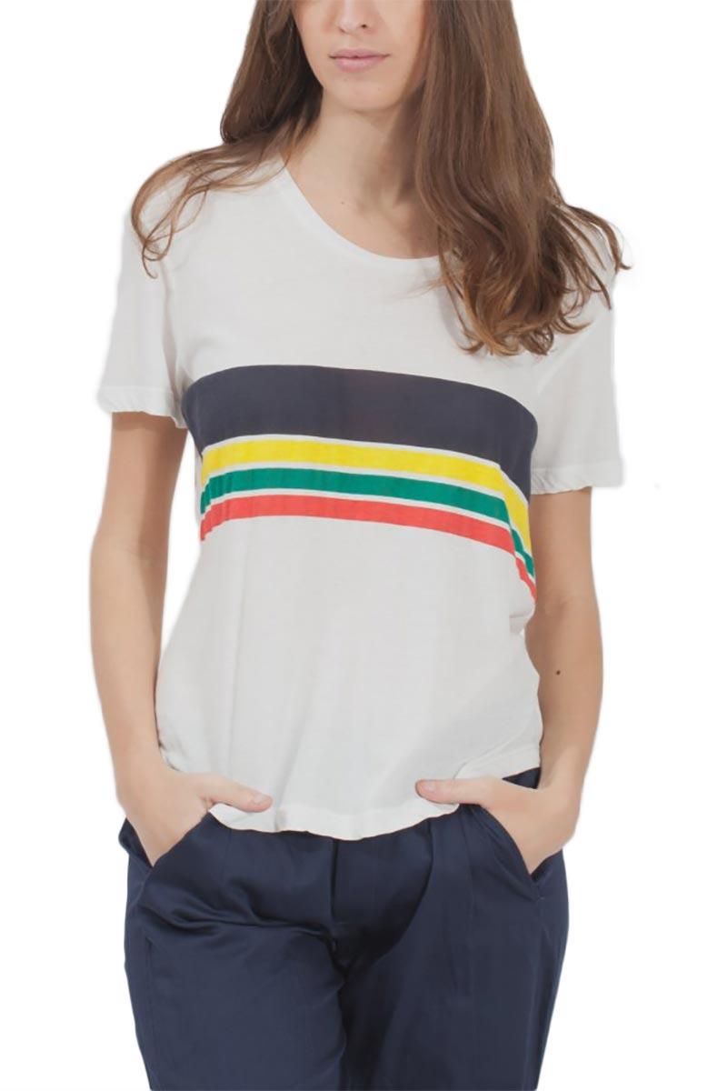 Thinking Mu Colors stripes γυναικείο T-shirt ημίλευκο