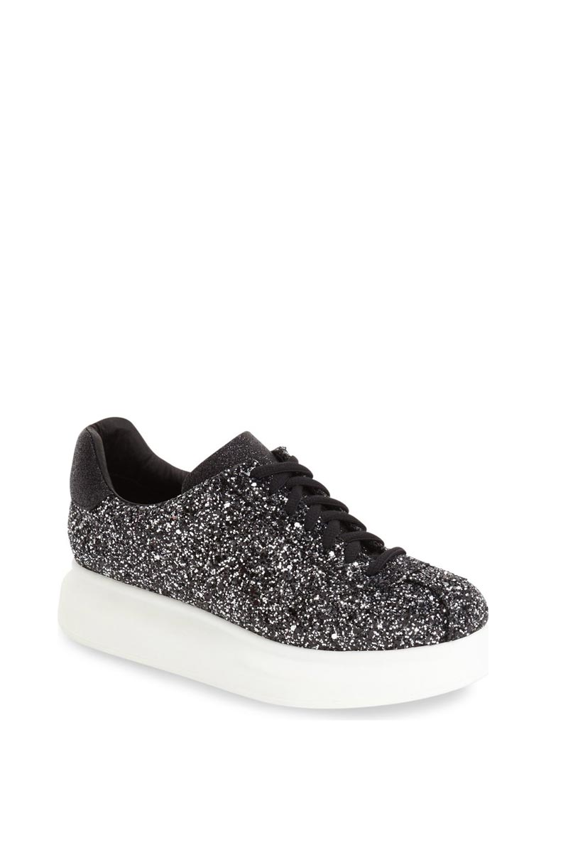 Jeffrey Campbell δίπατα sneakers Velocity black/white glitter - velocity-01647