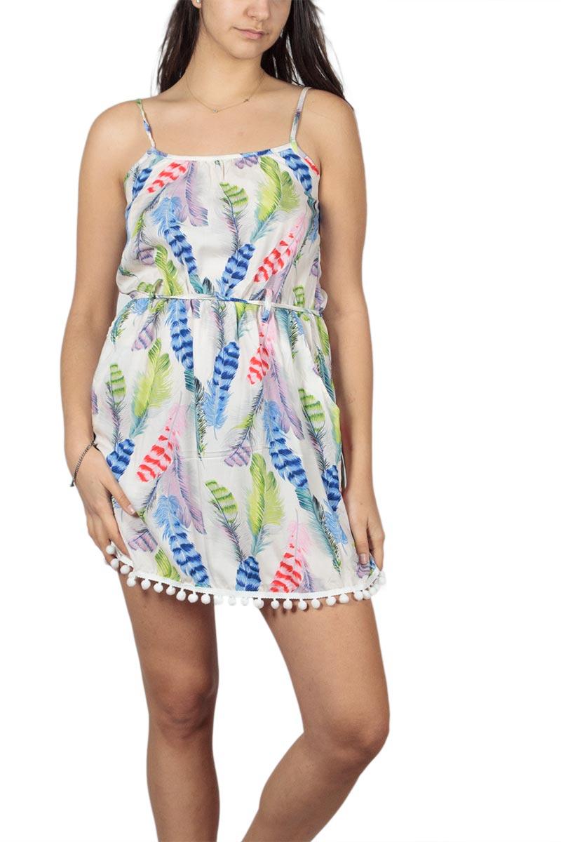 Τιραντέ μίνι φόρεμα με πον πον μπλε πριντ