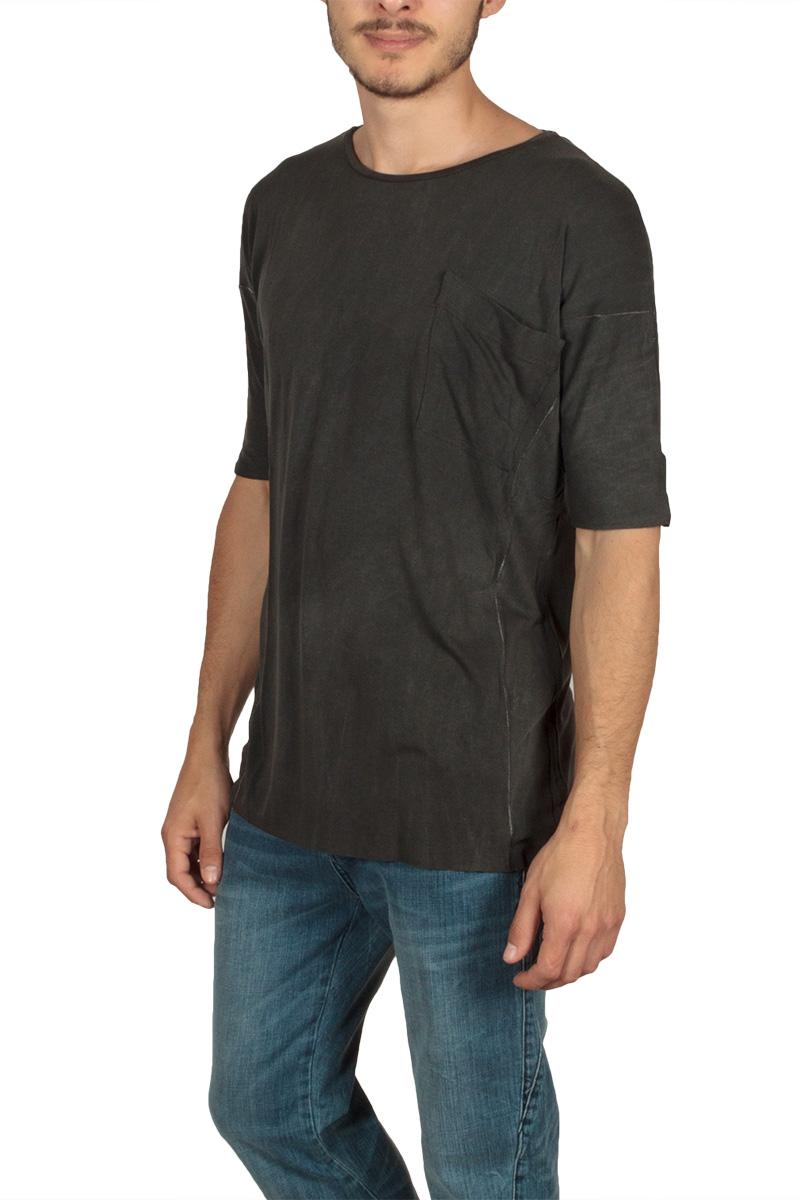 Lotus Eaters ανδρικό T-shirt μαύρο πετροπλυμένο με τσέπη