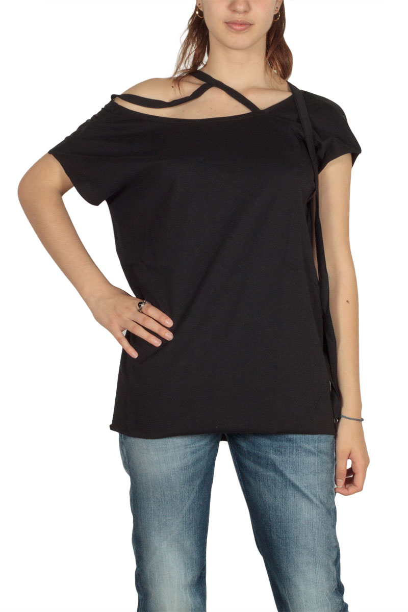 Lotus Eaters Acre έξωμη μπλούζα μαύρη με κορδόνια