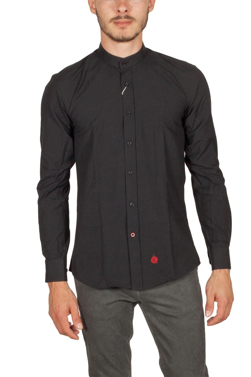 Miitos ανδρικό Mao πουκάμισο μαύρο