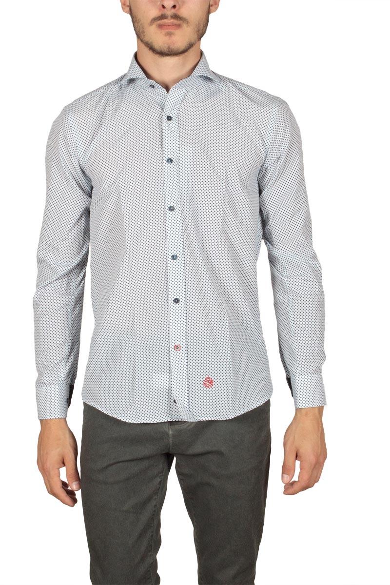 Miitos ανδρικό πουκάμισο λευκό με μπλε πριντ - m-107-p 4a22c007e88