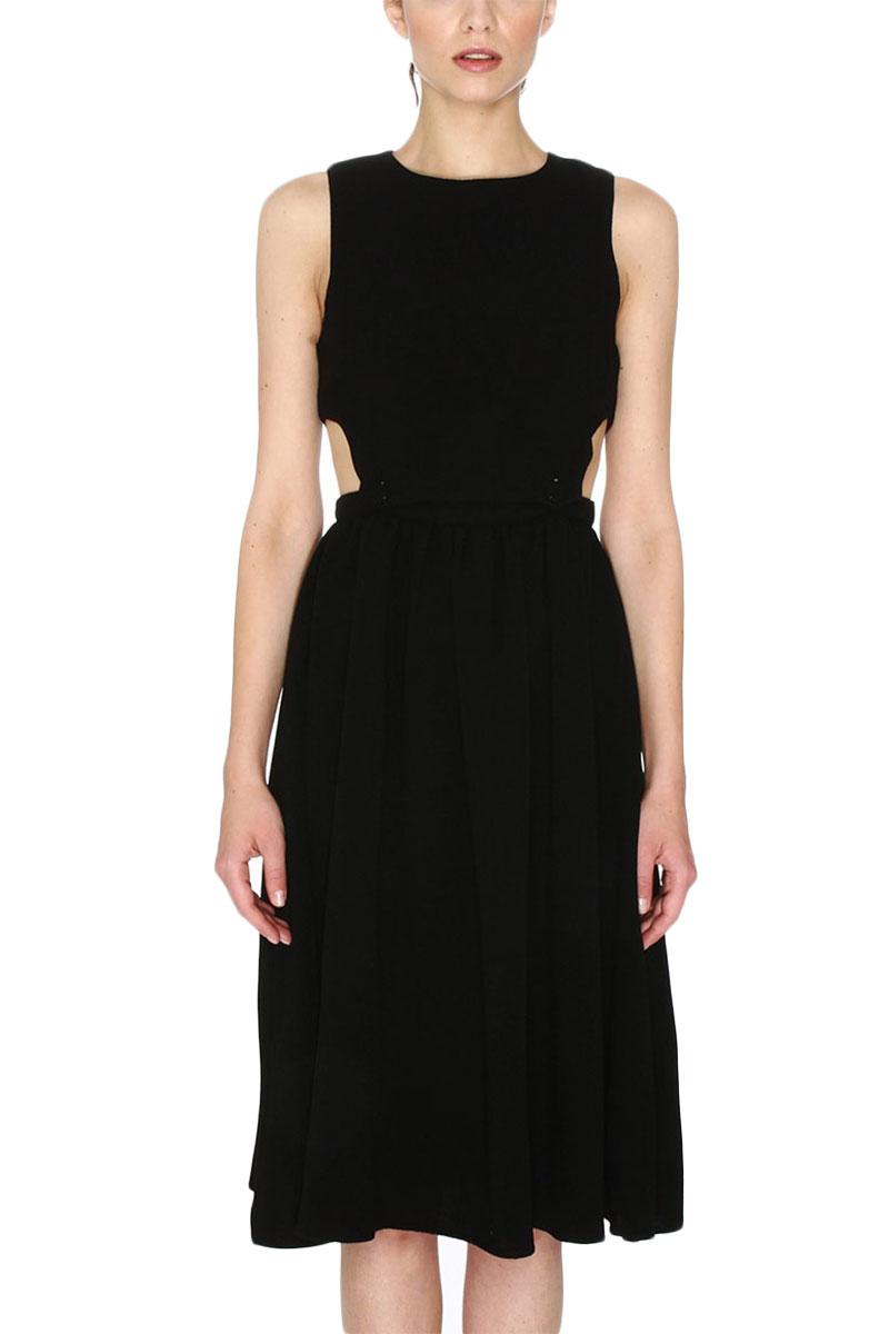 Pepaloves Meritxell cut-out midi φόρεμα μαύρο