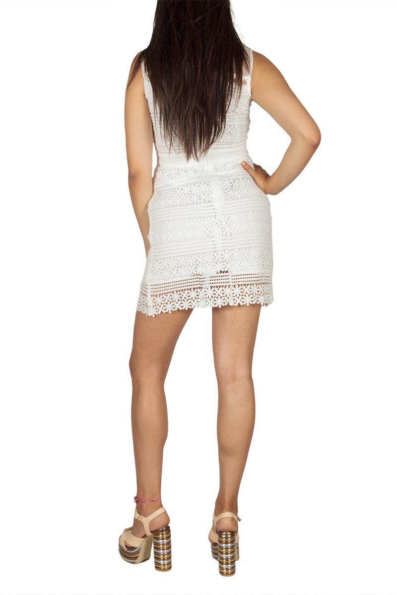 80bb5fa7d24a Ryujee Dolia μίνι φόρεμα δαντέλα λευκό