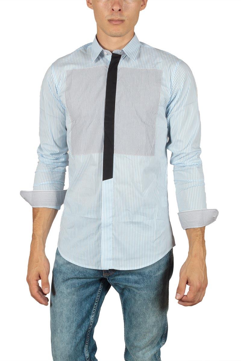 Ryujee Hylan slim fit ριγέ πουκάμισο γαλάζιο - ry-hylan