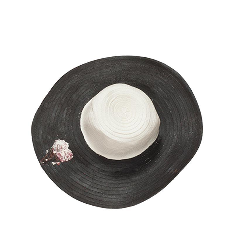 Ψάθινο καπέλο ζωγραφισμένο μαύρο