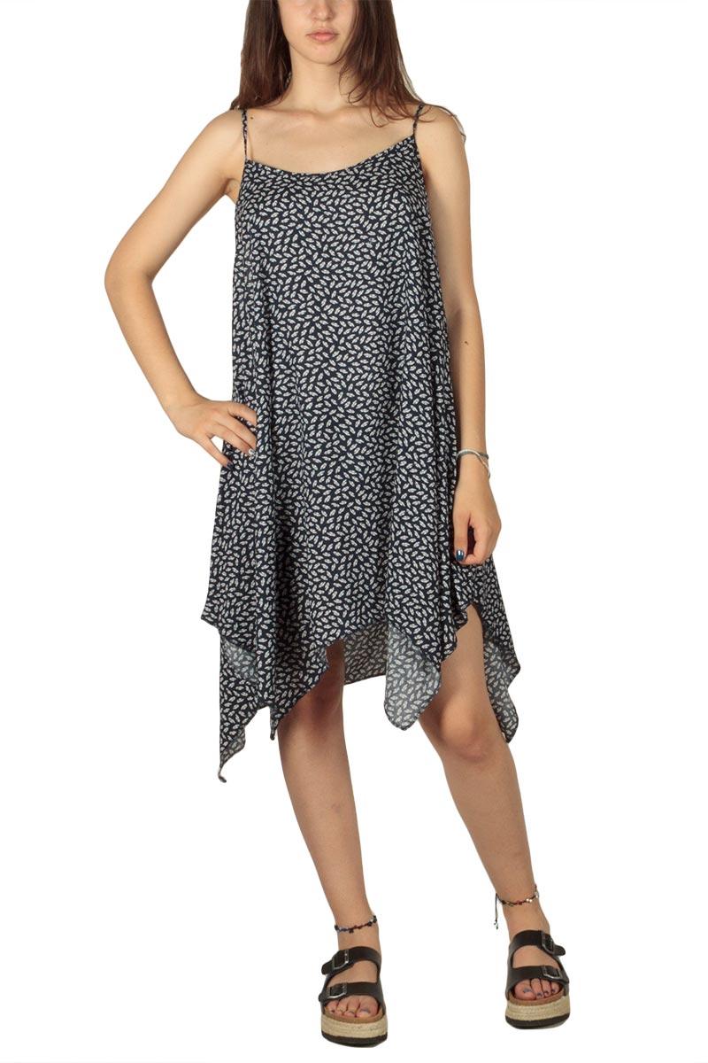 Φόρεμα με δετές τιράντες μπλε-λευκό