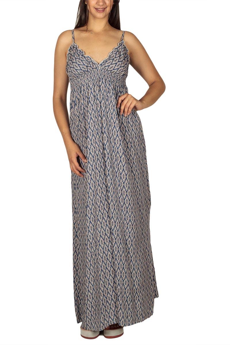 Αμπίρ μάξι φόρεμα μπλε-εκρού ρόμβοι