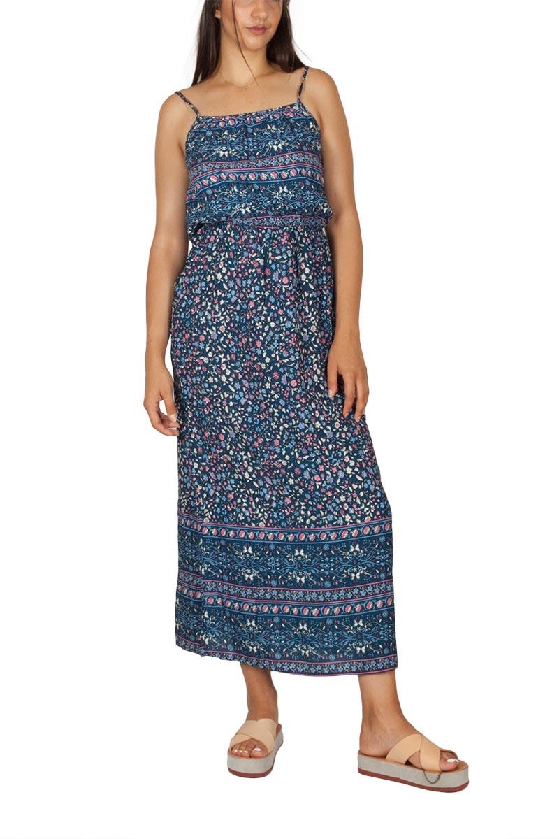 Μάξι φόρεμα τιραντέ φλοράλ navy - et-512-9814