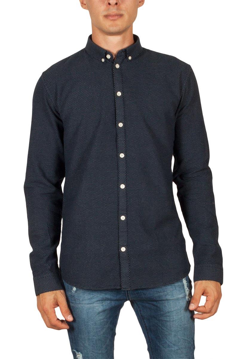 Minimum Miro ζακάρ πουκάμισο σκούρο μπλε