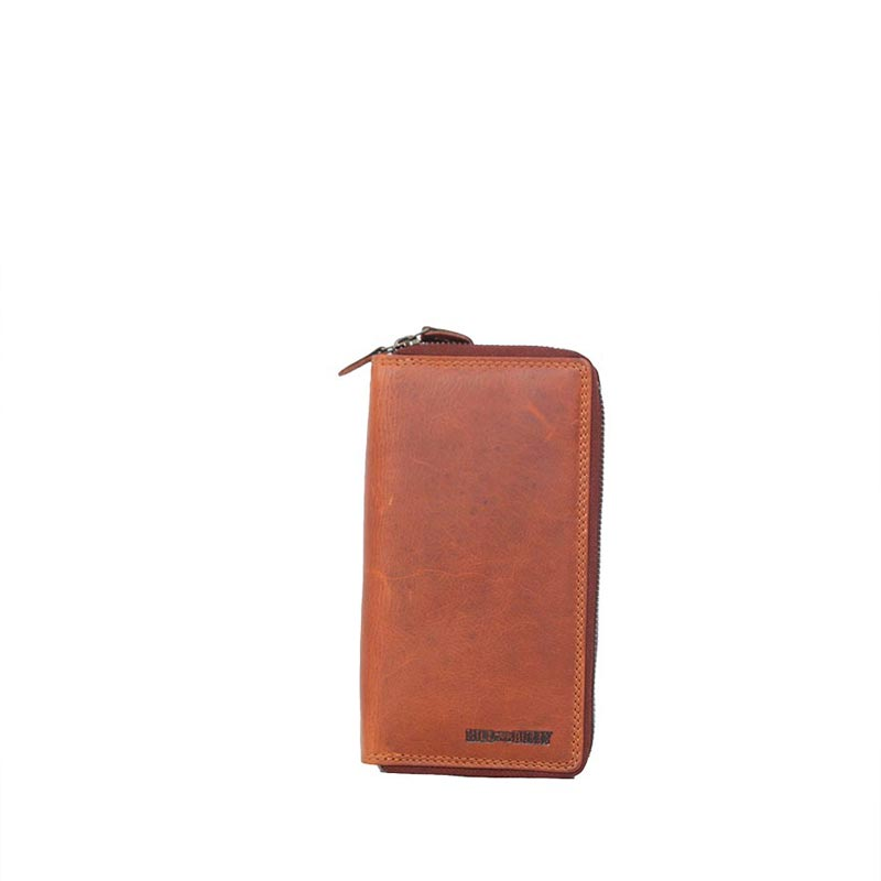 Hill Burry δερμάτινο πορτοφόλι καφέ με διπλό φερμουάρ - 777025-3628-br