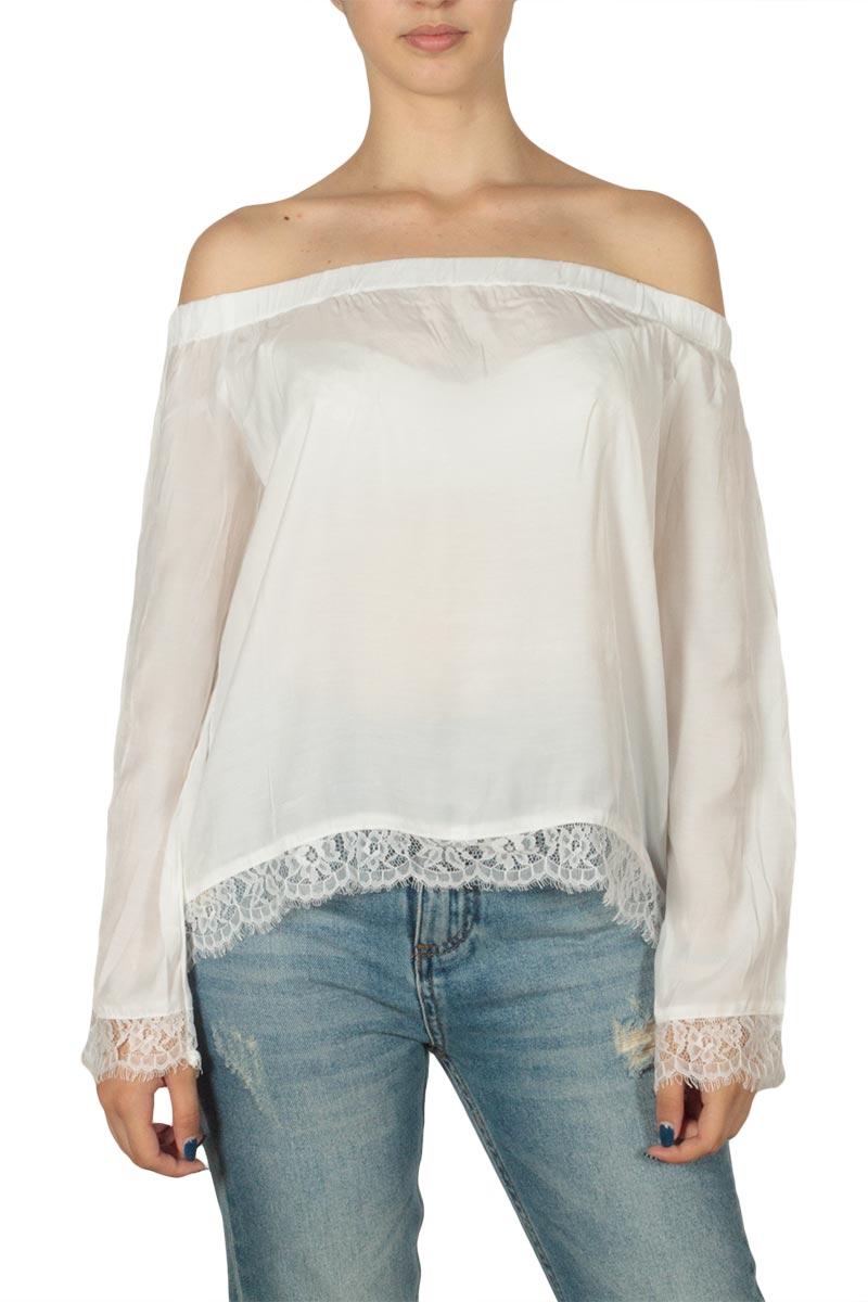 Minimum Carlina Μπαρντό μπλούζα λευκή