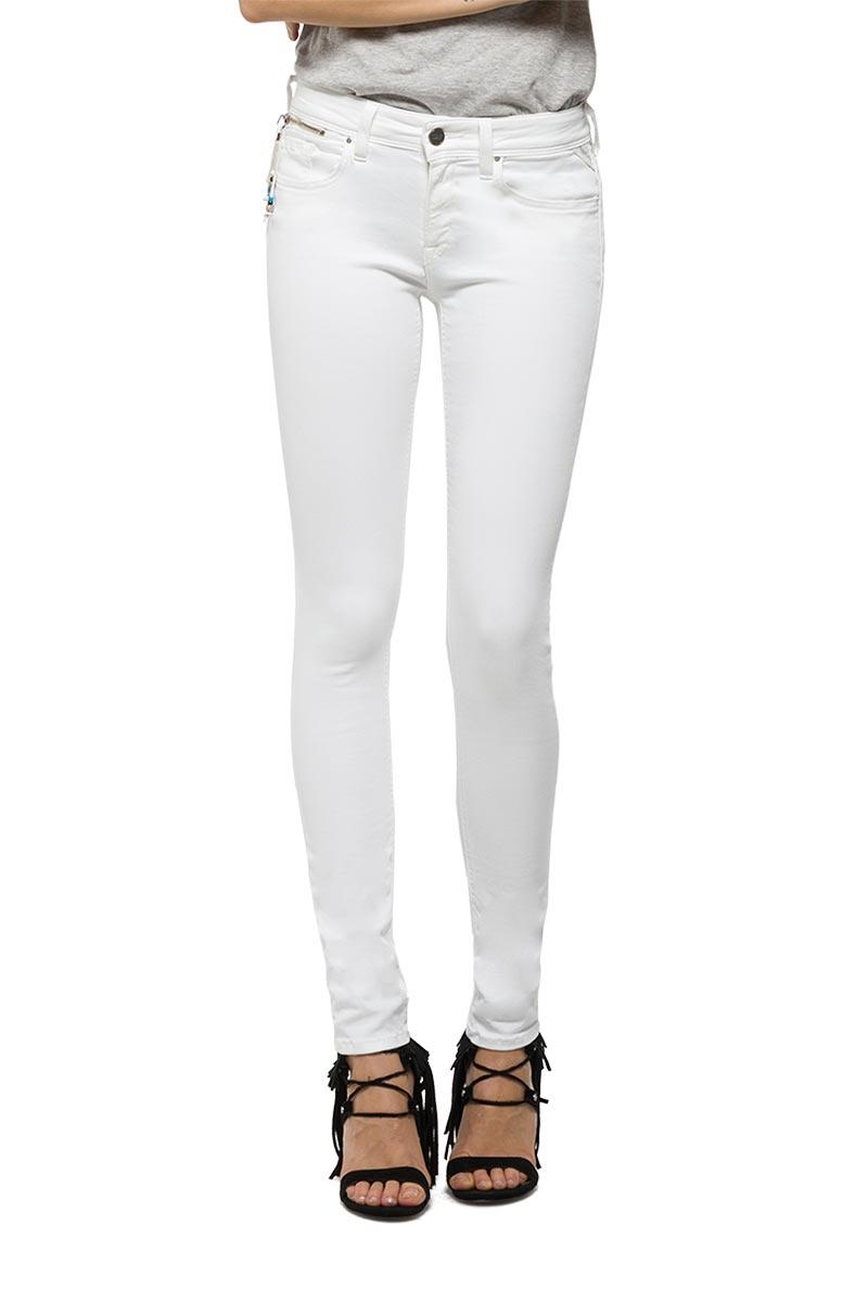 Replay Luz γυναικείο skinny fit jeans λευκό - wcx689-000-8064129-001