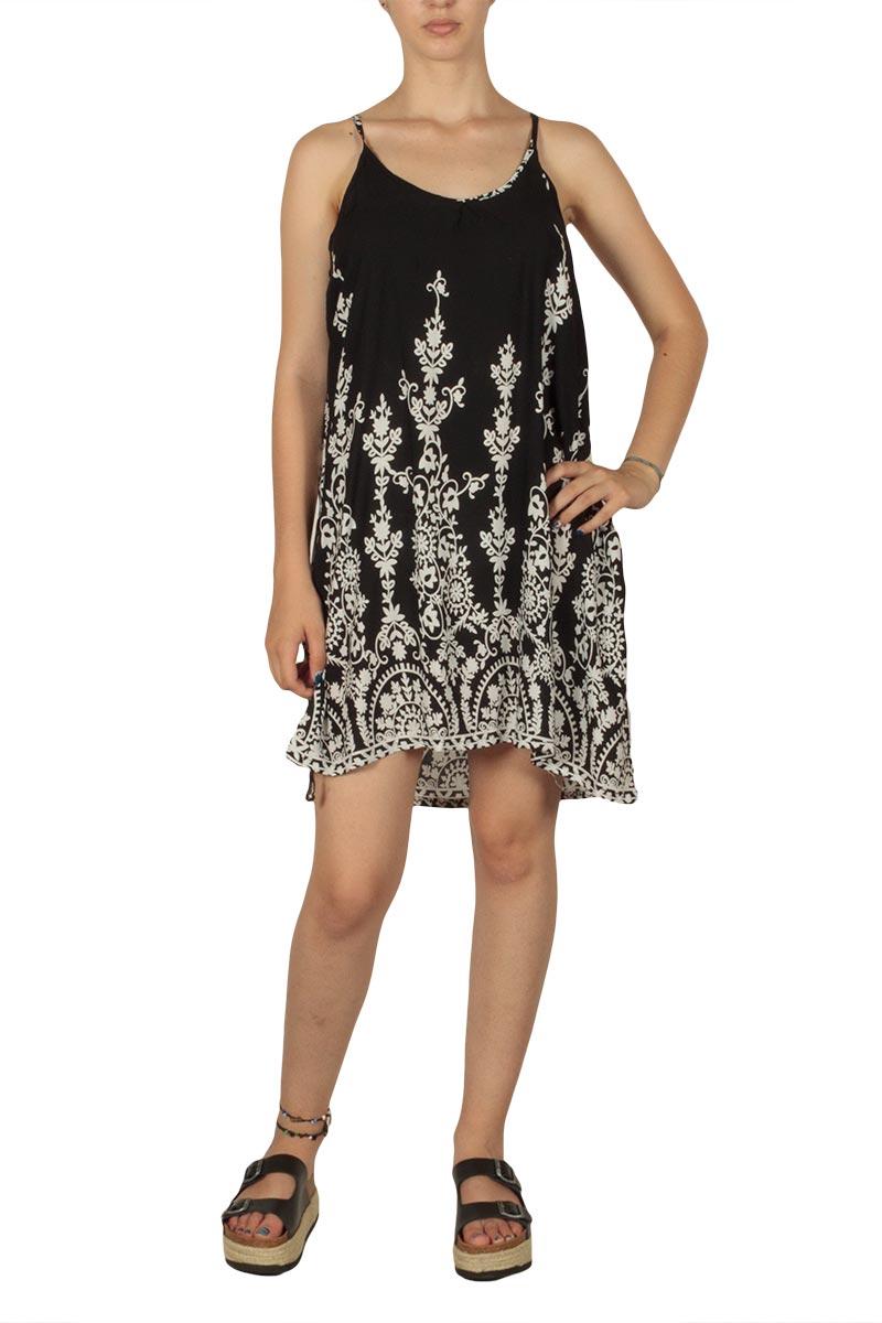 Φόρεμα με χαμηλή αθλητική πλάτη μαύρο-λευκό