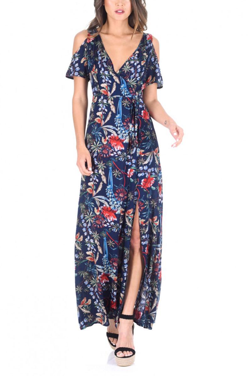 AX Paris έξωμο μάξι φόρεμα μπλε φλοράλ