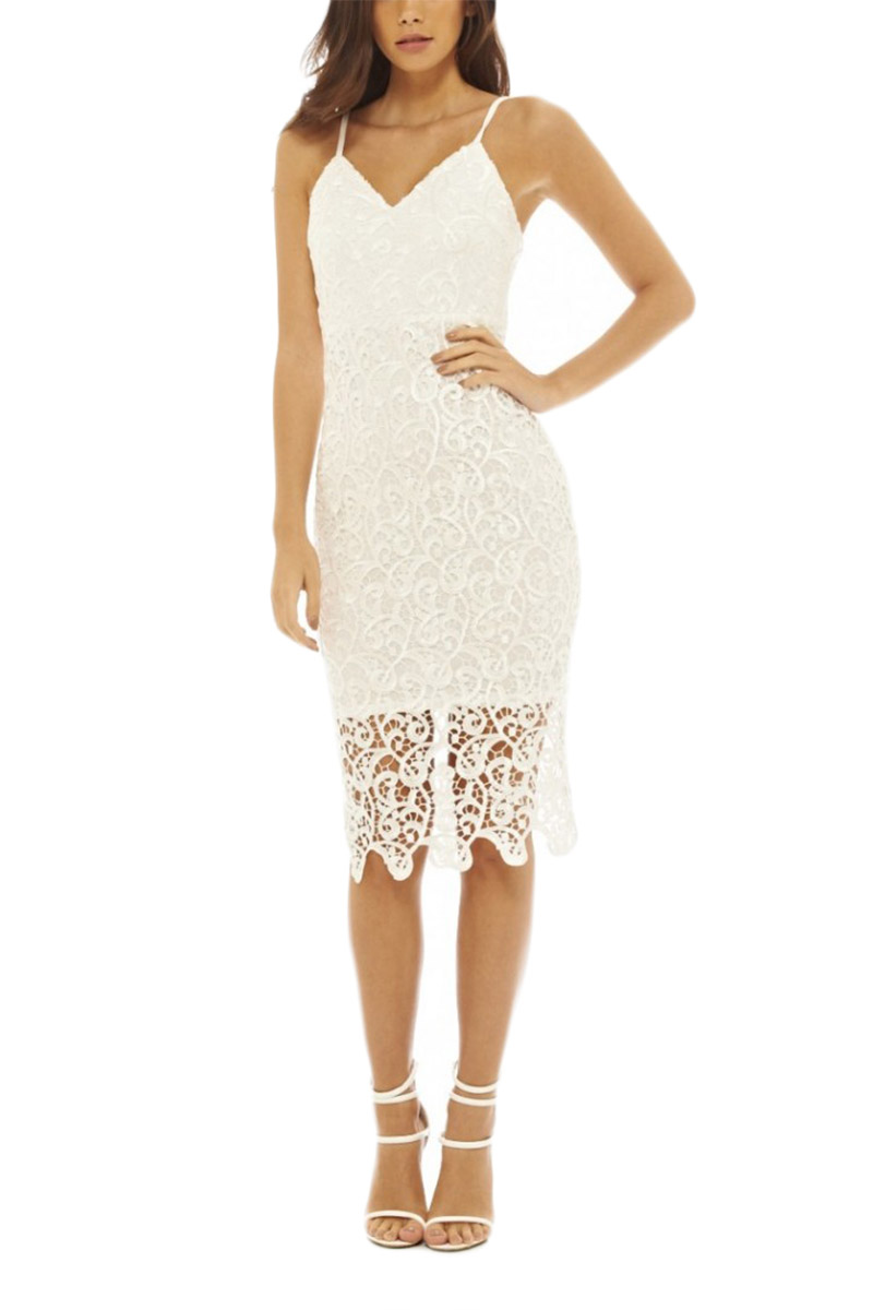 AX Paris δαντελένιο μίντι φόρεμα κρεμ