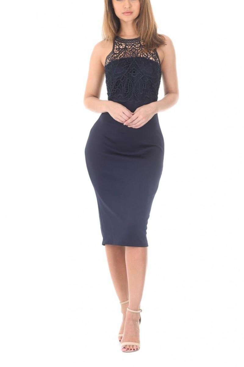 AX Paris αμάνικο φόρεμα μπλε με δαντέλα
