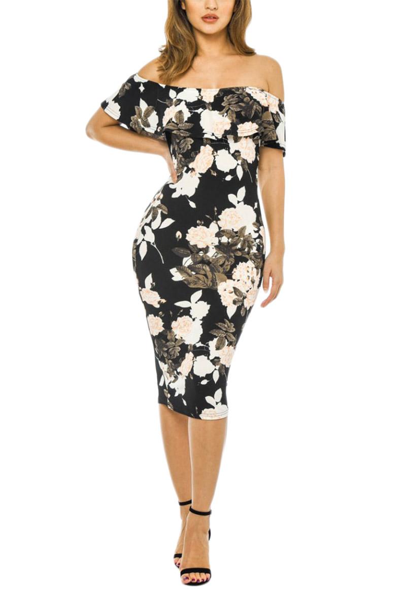 AX Paris Μπαρντό φόρεμα μαύρο φλοράλ