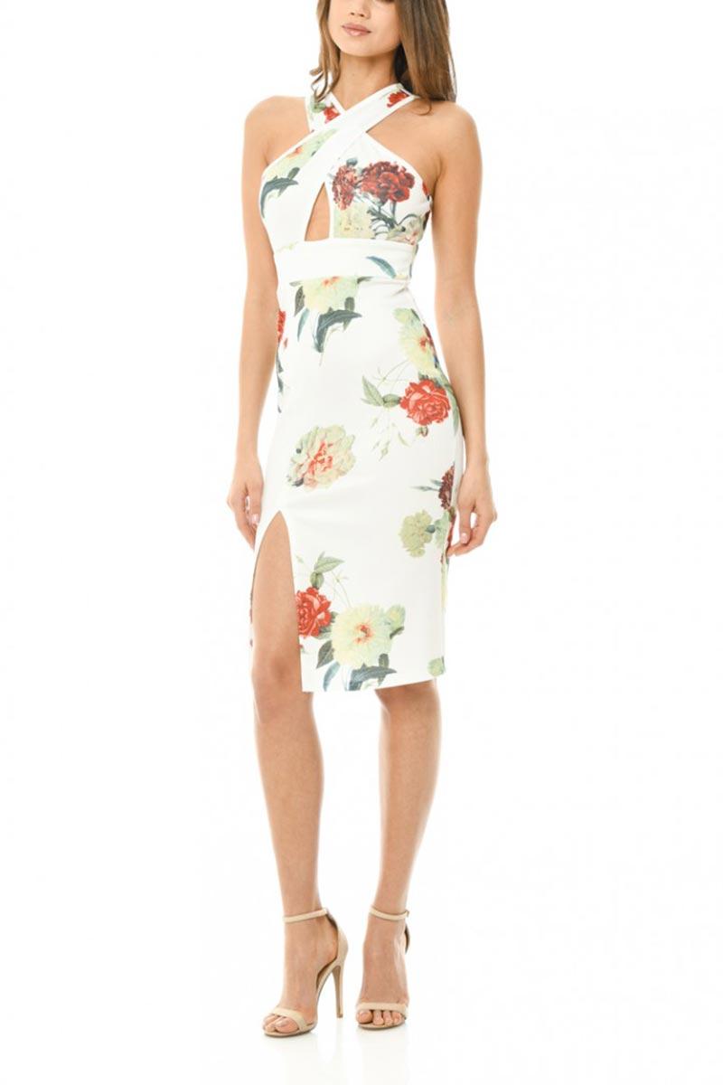 AX Paris cross front φλοράλ κρεμ φόρεμα
