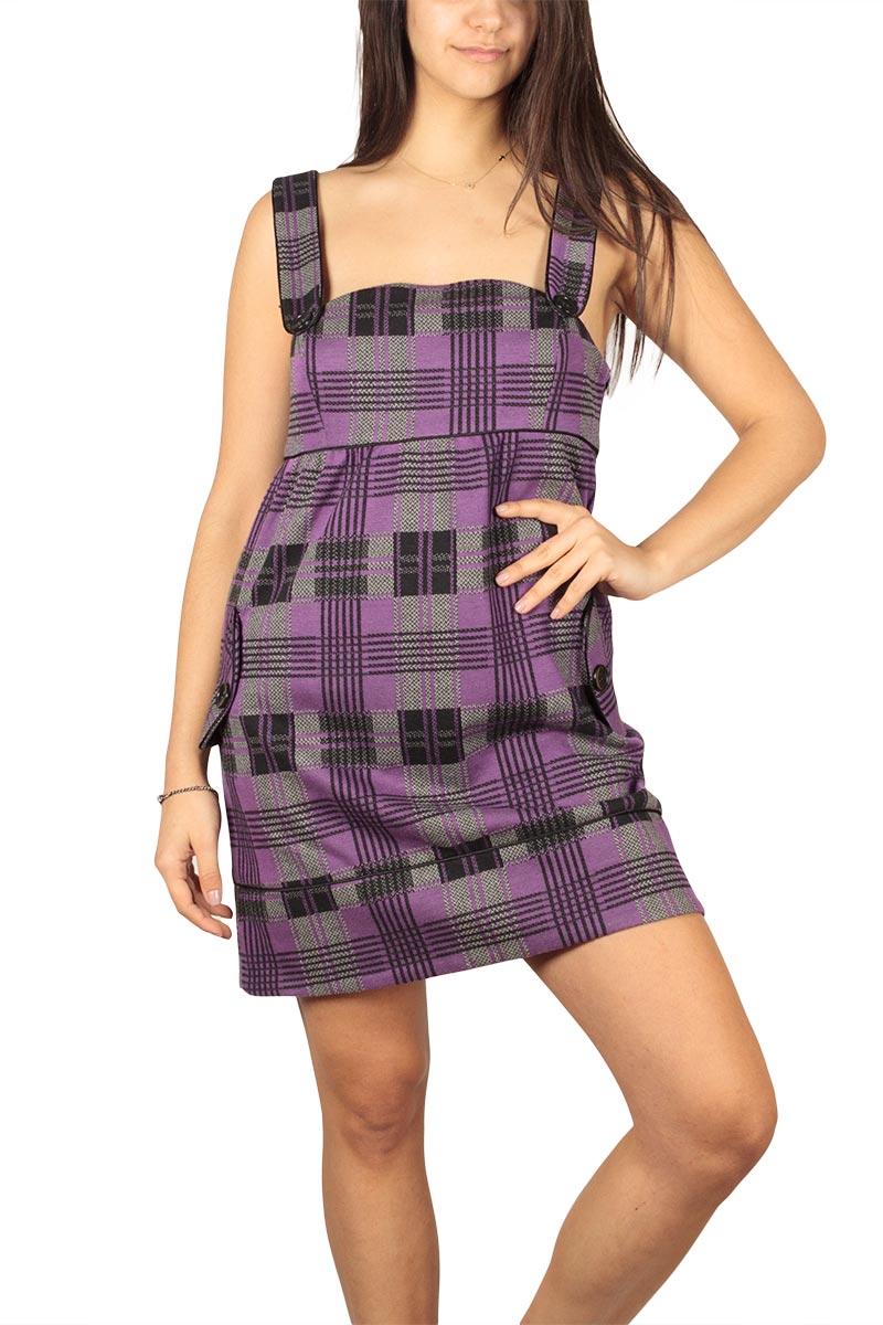 Καρό φόρεμα μωβ με τιράντες - 6417-pu
