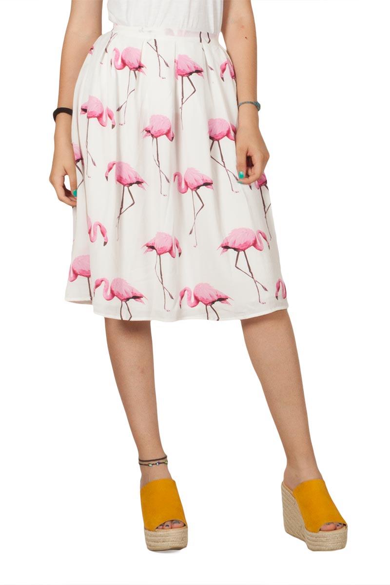Migle + me Flamingos φούστα με πιέτες - la-222f