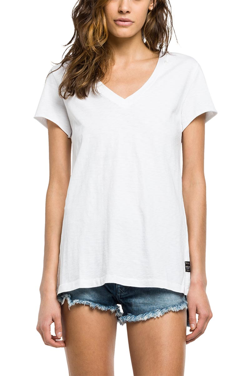 Replay t-shirt white with back slit