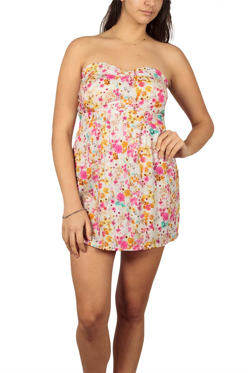 Strapless floral mini dress ecru