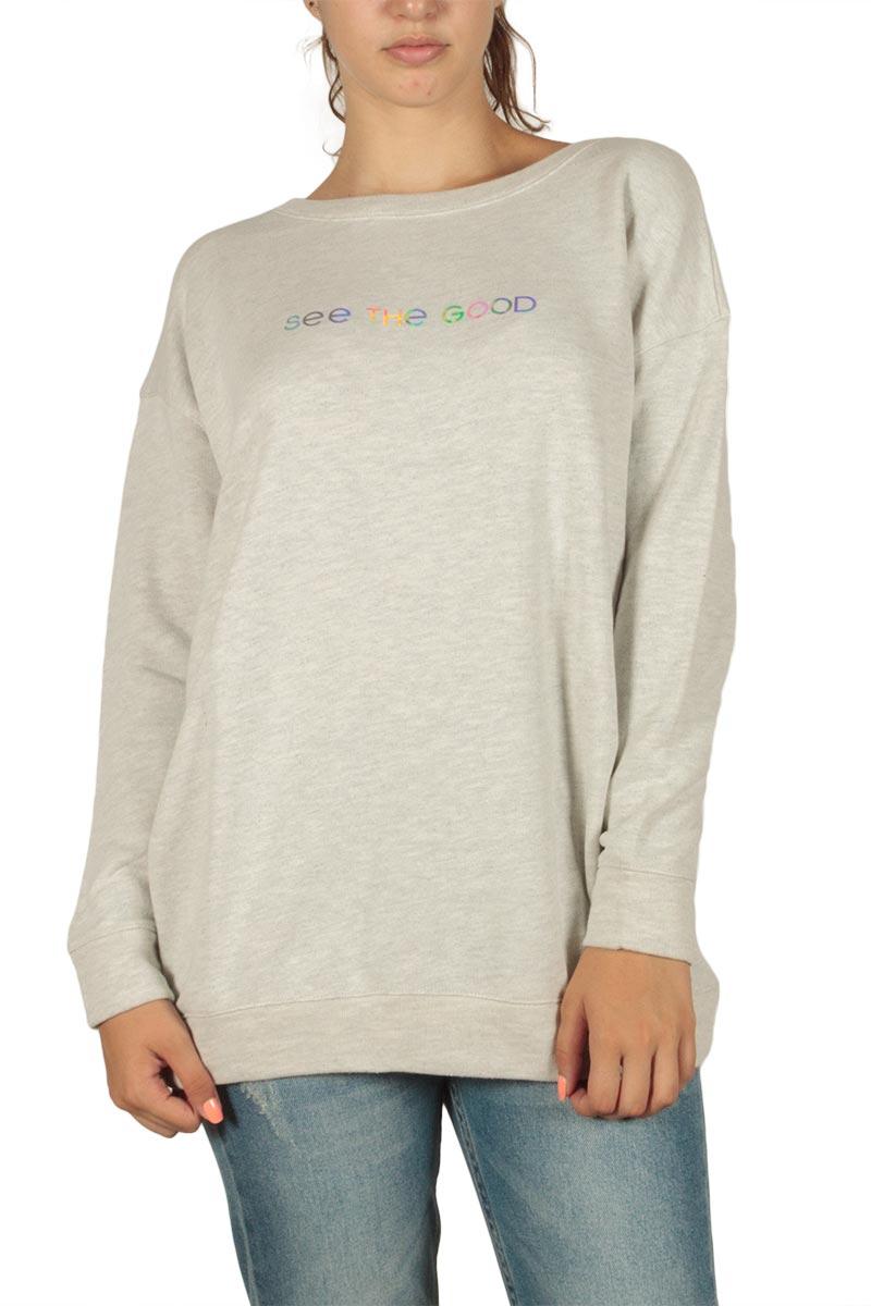 LTB Fepica longline φούτερ μπλούζα εκρού μελανζέ - 81112-60181