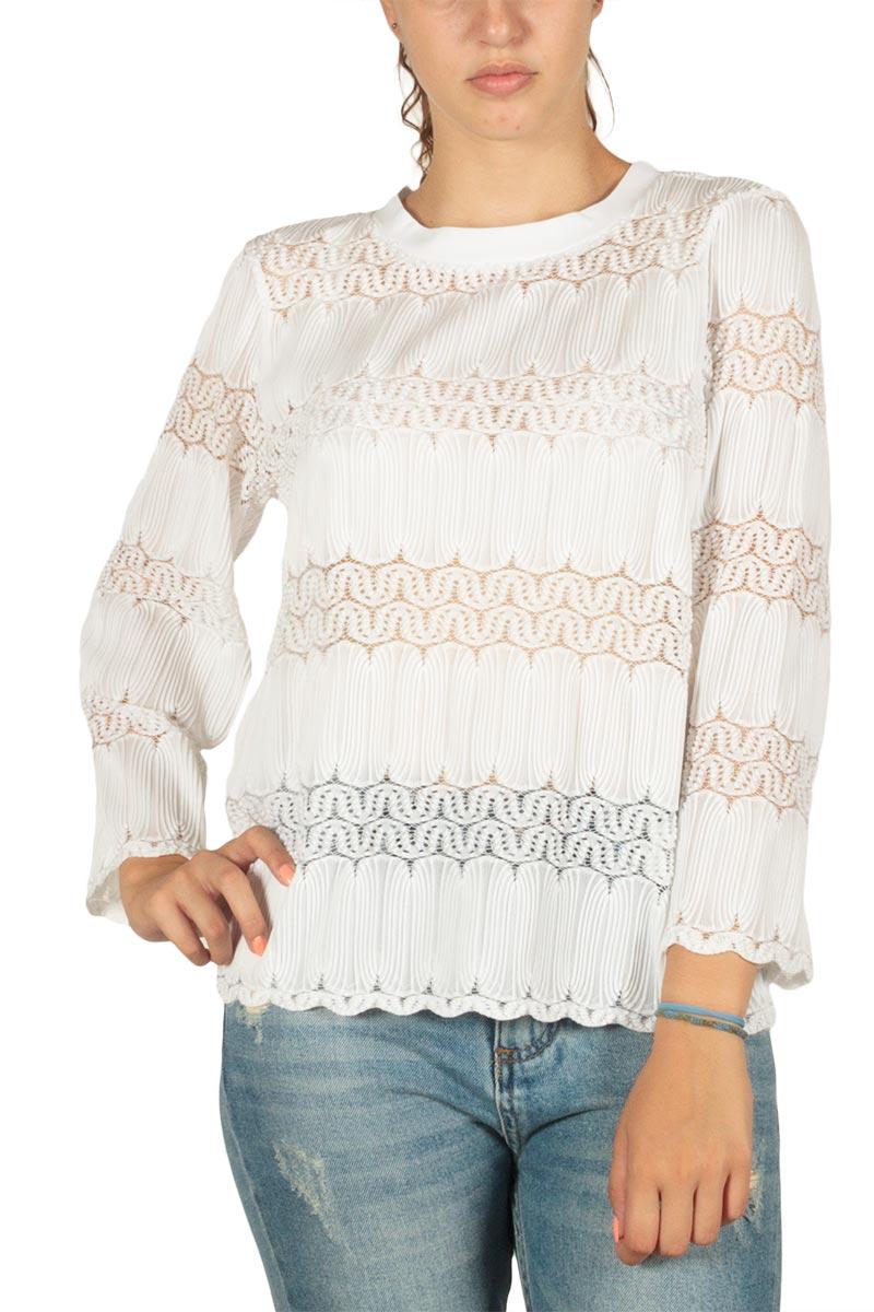 Minimum Josefia ημιδιάφανη μπλούζα λευκή