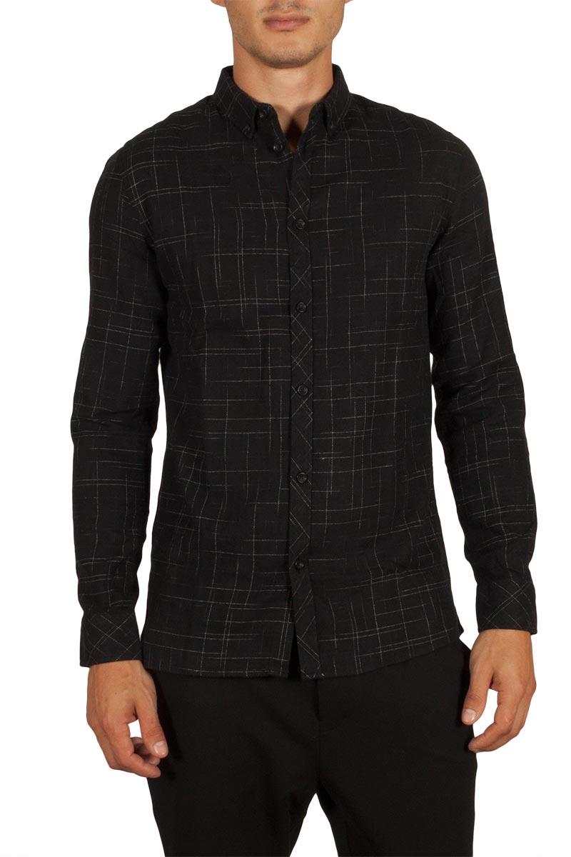 Anerkjendt Daxon ανδρικό πουκάμισο μαύρο - 9417011