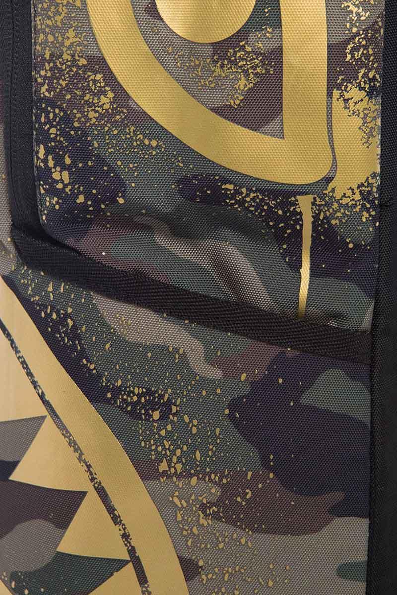 Sprayground Gold stencil shark camo backpack