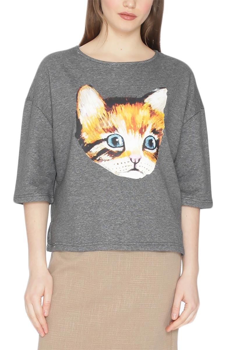 Pepaloves Cat head φούτερ ανθρακί μελανζέ