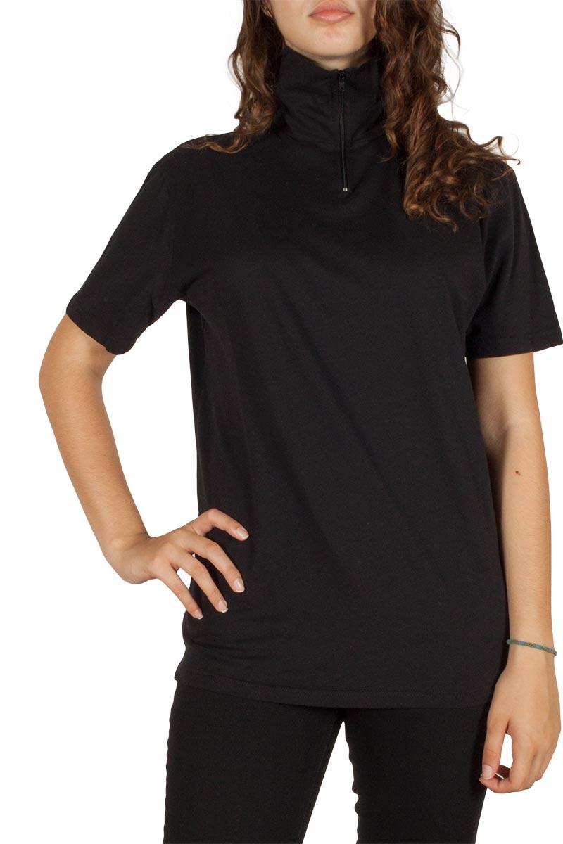Γυναικείο t-shirt ζιβάγκο μαύρο
