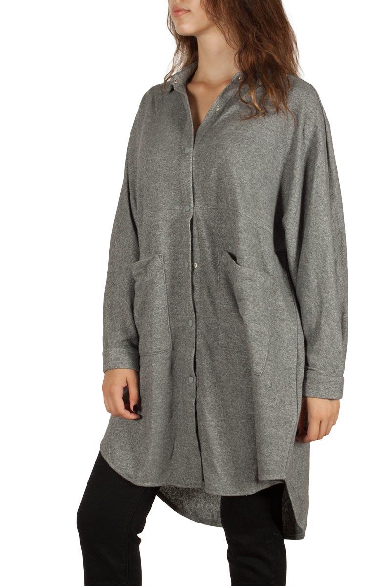 Ryujee Cagla longline sweat jacket grey