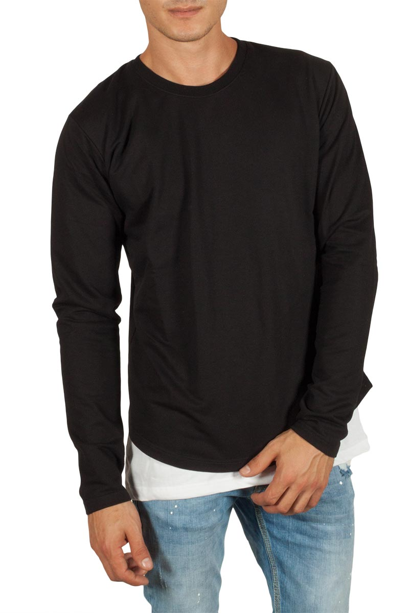Humanism double layer μπλούζα μαύρη-λευκή