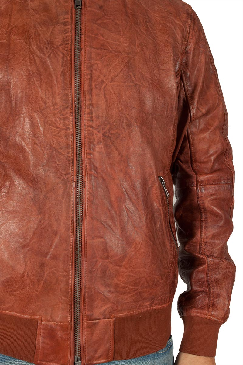 9293a9d10b Freaky Nation Extra clubber leather bomber cognac
