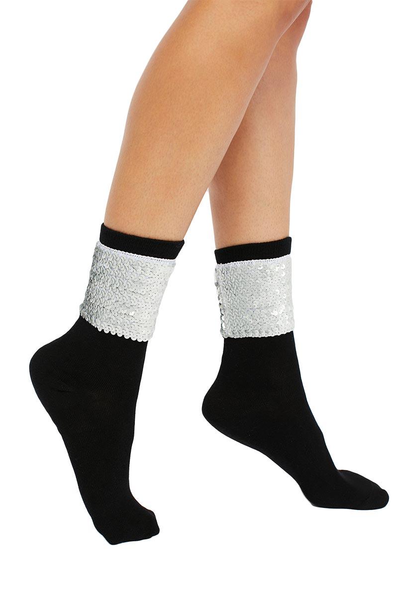 Free People Ziggy κάλτσες μαύρες με παγιέτες