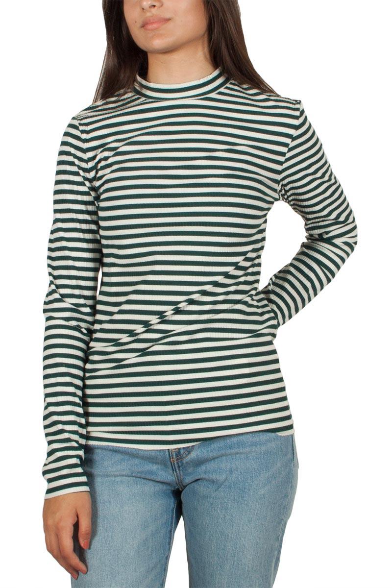 Minimum Maryam μακρυμάνικη μπλούζα ριγέ πράσινο-εκρού - 121370027 dc8656b7657