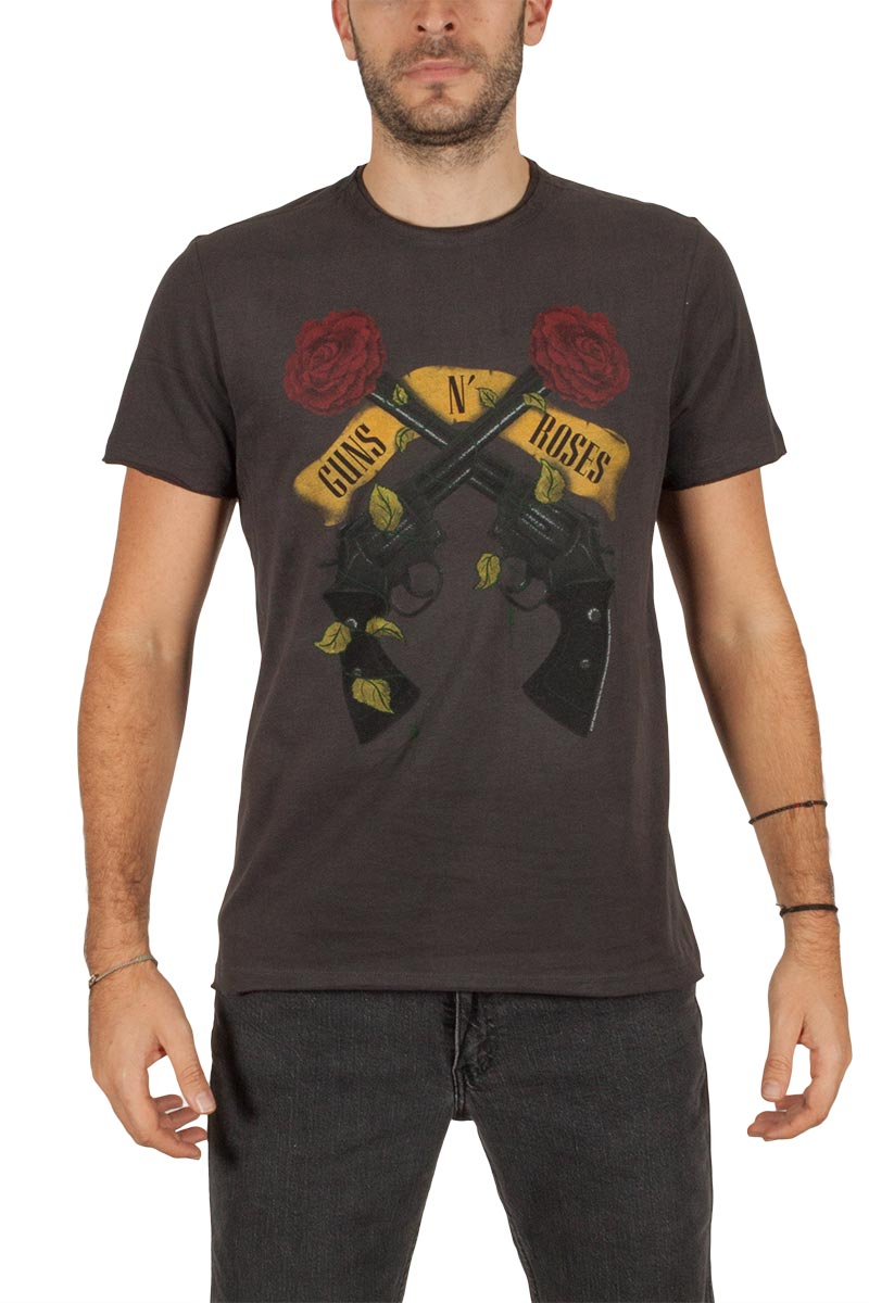 Amplified Guns n Roses Shooting roses t-shirt ανθρακί