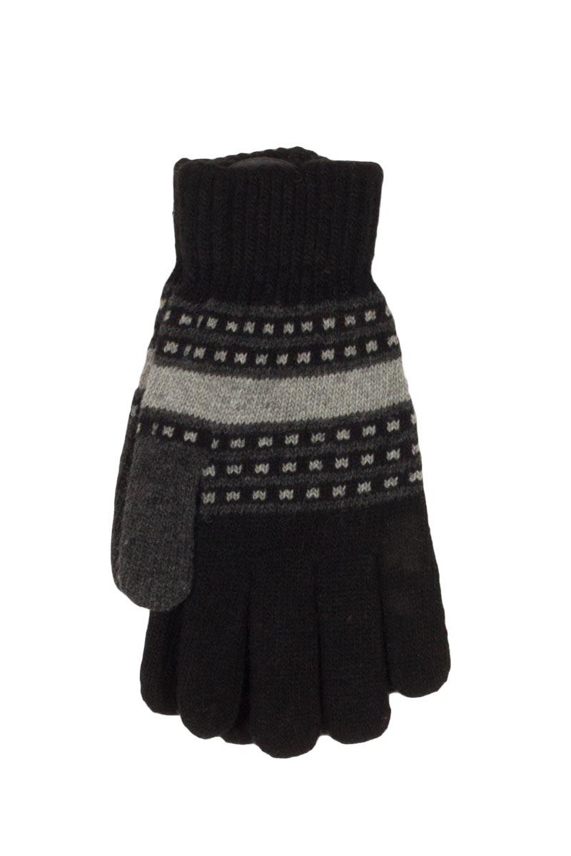 Πλεκτά γάντια μαύρα-γκρι