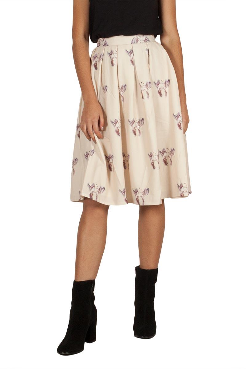 Migle + me Bird φούστα μπεζ με πιέτες - la-222bird