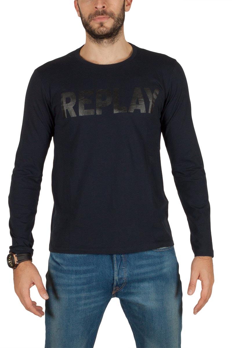 Replay Logo ανδρική μπλούζα σκούρο μπλε