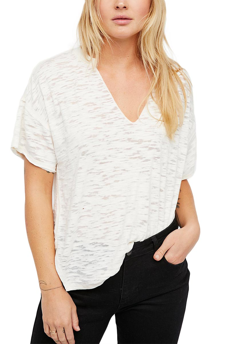 Free People Maddie relaxed μπλούζα λευκή με V-λαιμόκοψη - ob774702