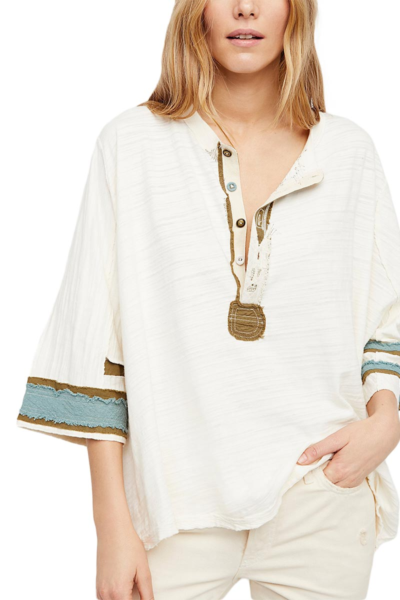 Free People Second wind oversized μπλούζα ιβουάρ