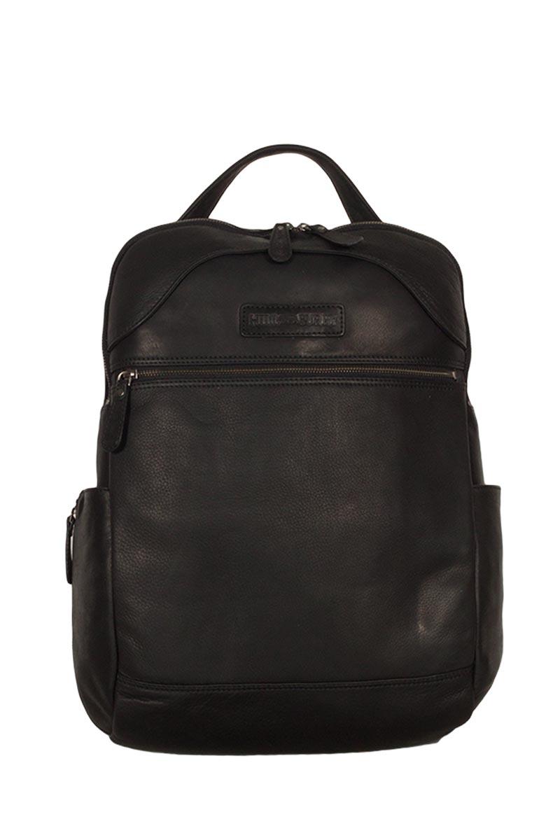 Hill Burry ανδρικό δερμάτινο backpack μαύρο - vb100176