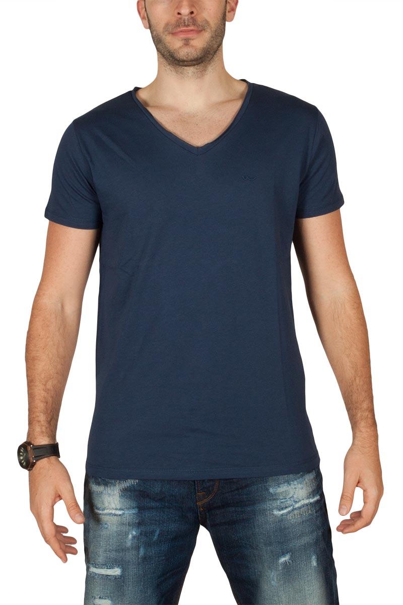 LTB Koji ανδρικό t-shirt μπλε με V-λαιμόκοψη - 84339-bl
